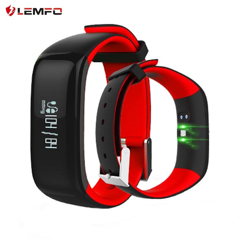 imágenes para LEMFO P1 Smartband Relojes de Pulsera Inteligente Bluetooth Heart Rate Monitor de Presión Arterial Inteligente Pulsera de Fitness para Android IOS