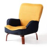 Японский низкая диван кресло обивка сетки ткань деревянные ножки мебель для гостиной современный расслабиться декоративные кресло акцент