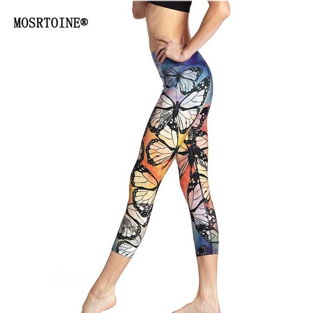 MOSRTOINE Women Print Leggings 2017 Summer Sporting Yuga Elastic Casual High Waist Butterfly Print Mid-calf Leggings Fashion New