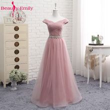Купить с кэшбэком Tulle Lace Dark Pink Bridesmaid Dresses 2019 Long for Women A line Wedding Party Prom Dresses Vestido De Festa Party Dresses