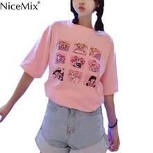 NiceMix Kawaii T Shirt Summer Women Tops 2017 Harajuku T-shirts Print Sailor Moon Loose Short Sleeve Plus Size Tee Shirt Femme все цены