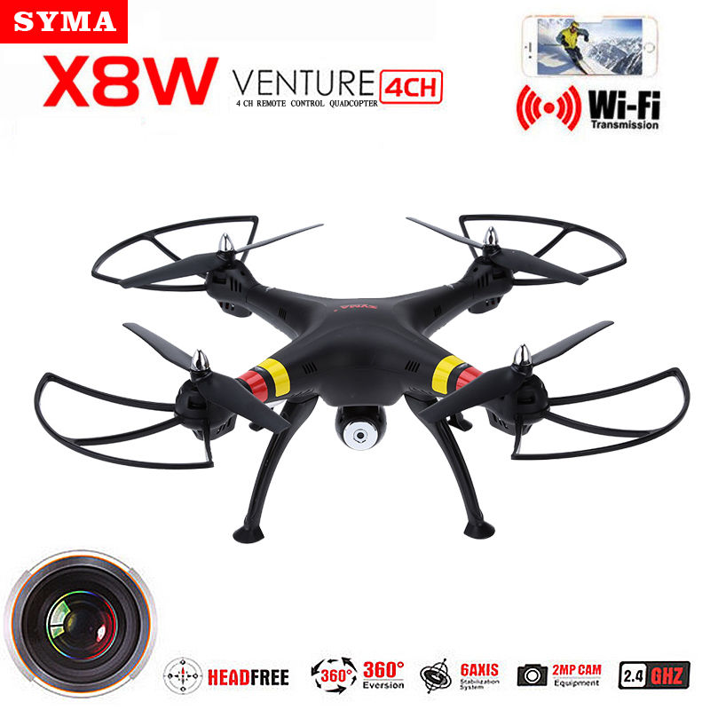 Syma X8W FPV 2.4Ghz Headless RC Quadcopter Drone UVA 2MP Wifi Camera RTF with Holder As Gift jjr c jjrc h43wh h43 selfie elfie wifi fpv with hd camera altitude hold headless mode foldable arm rc quadcopter drone h37 mini