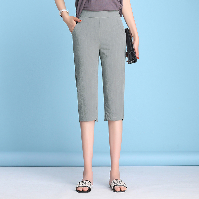Women High Waist Pants Capris Sexy Leggings Women Soft Pants Women Thin Summer Leggings  casual Linen Capri Wide Leg Pants GBQ