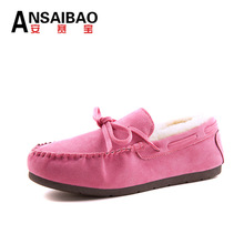 Winter Fur Women Flats Snow Shoes Bow Women's Driving Shoes Casual Loafers Fashion Boat Shoes Thickening Warm Footwear NX152