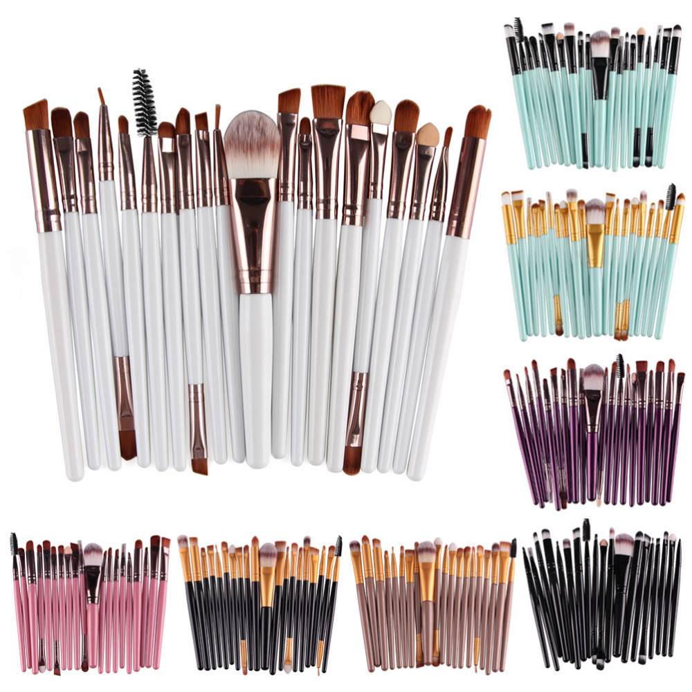 Pro 20pcs Eyes Face Makeup Brushes Set Eyeshadow Blending Brush Powder Foundation Eyebrow Lip Eyeliner Brush Cosmetic Tools Kit