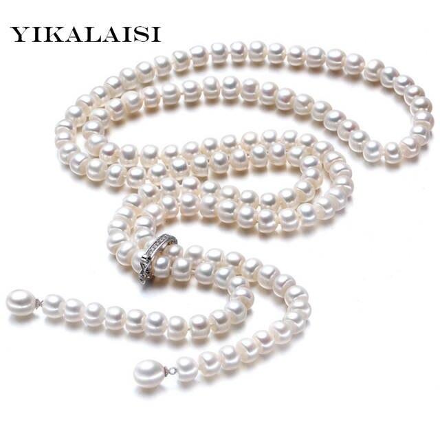 5ad37401fe5a Alta calidad 2017 100% natural de agua dulce perla collar largo 8-9mm perla