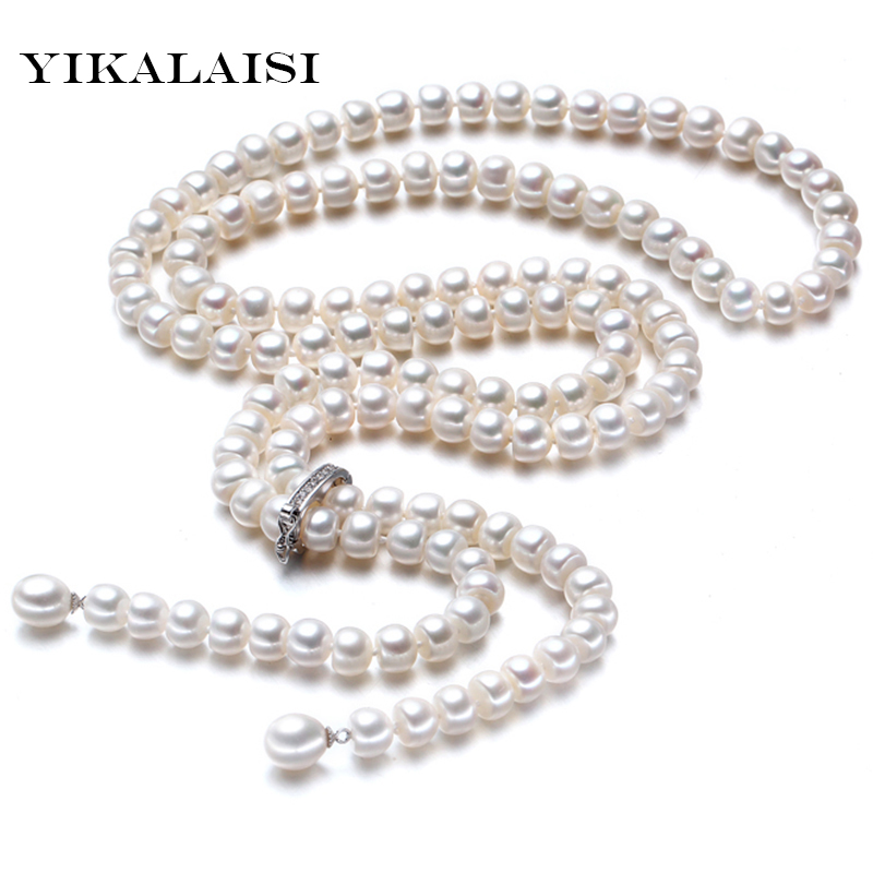 High Quality 2017 100%Natural freshwater Pearl Long Necklace 8-9 mm Real Pearl 925 Sterling silver Jewelry For Women Best Gifts ashiqi 925 sterling silver pendant real multi rice natural freshwater pearl necklace for women jewelry gifts