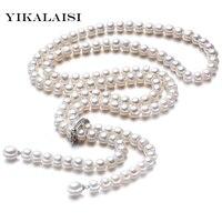 Hohe Qualität 2017 100% Natürliche süßwasser Perle Lange Halskette 8-9mm Perle 925 Sterling silber Schmuck Für frauen Besten Geschenke