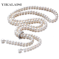 YIKALAISI 925 Sterling Silver Natural Freshwater Pearl Long Necklace Jewelry For Women 8 9 mm Real Pearl Fashion Chokers