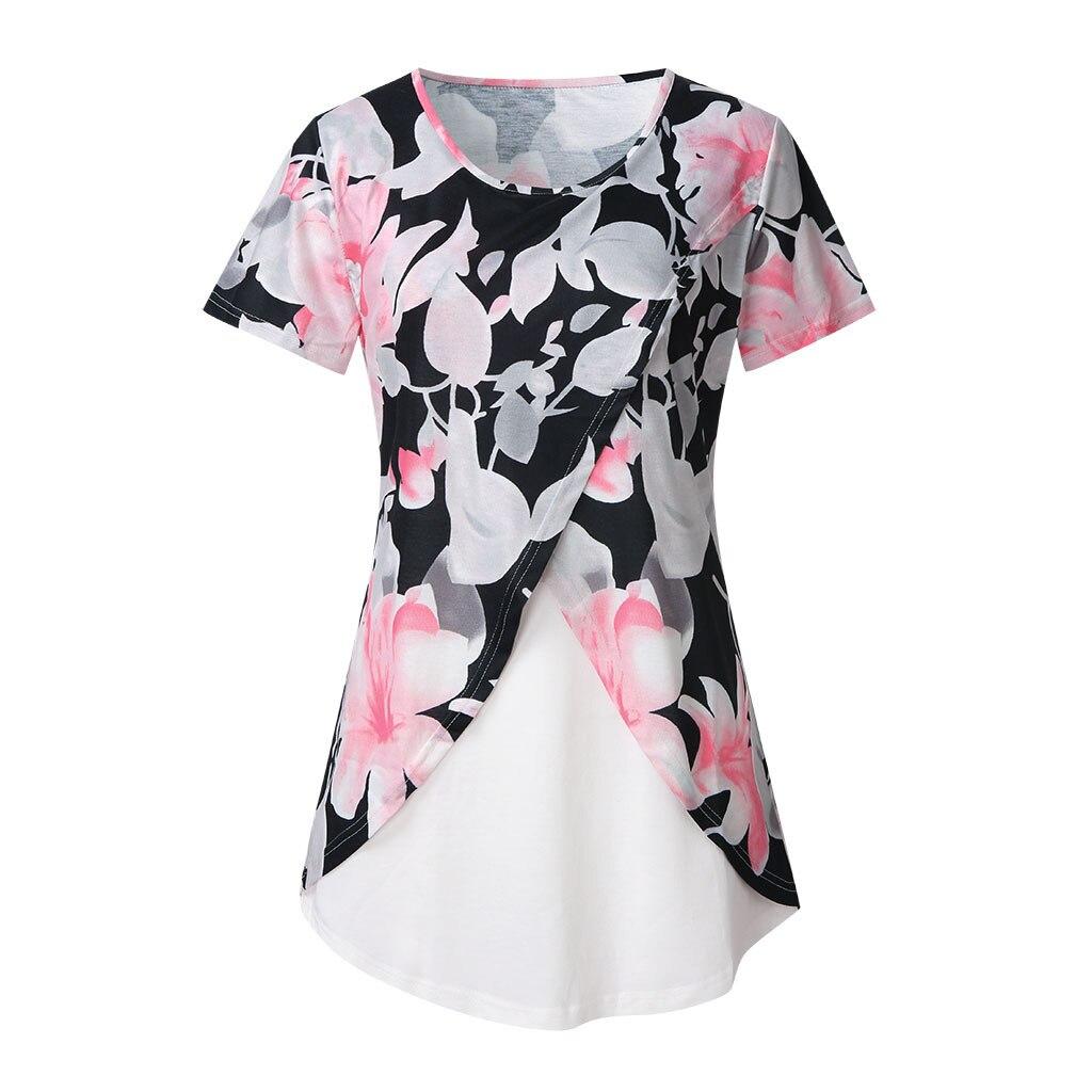 Summer New Fashion Women's Comfy Layered Nursing Top Maternity Breastfeeding Tunic Wholesale Free Ship Z4