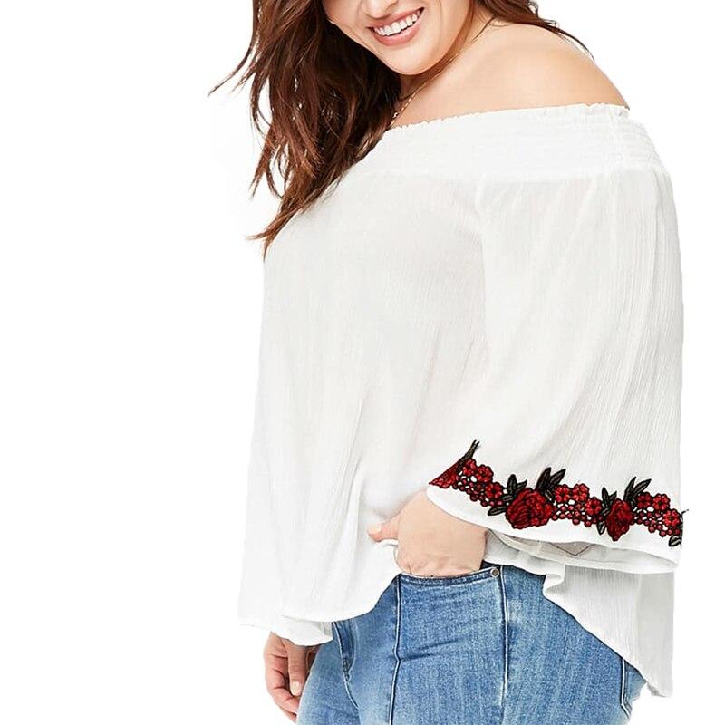 Broderie Femmes Noir Tops blanc Nouvelle Manches Plus Cou Solide Vacances Long Floral Arrivée Blouse 2018 Taille Slash Flare La Kissmilk Doux wI6H46