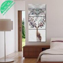 Лучший!  3 Шт. Северный стиль Олень HD Печатных Холст для Живописи Wall Art Украшения для Гостиной Плакат  Лучший!