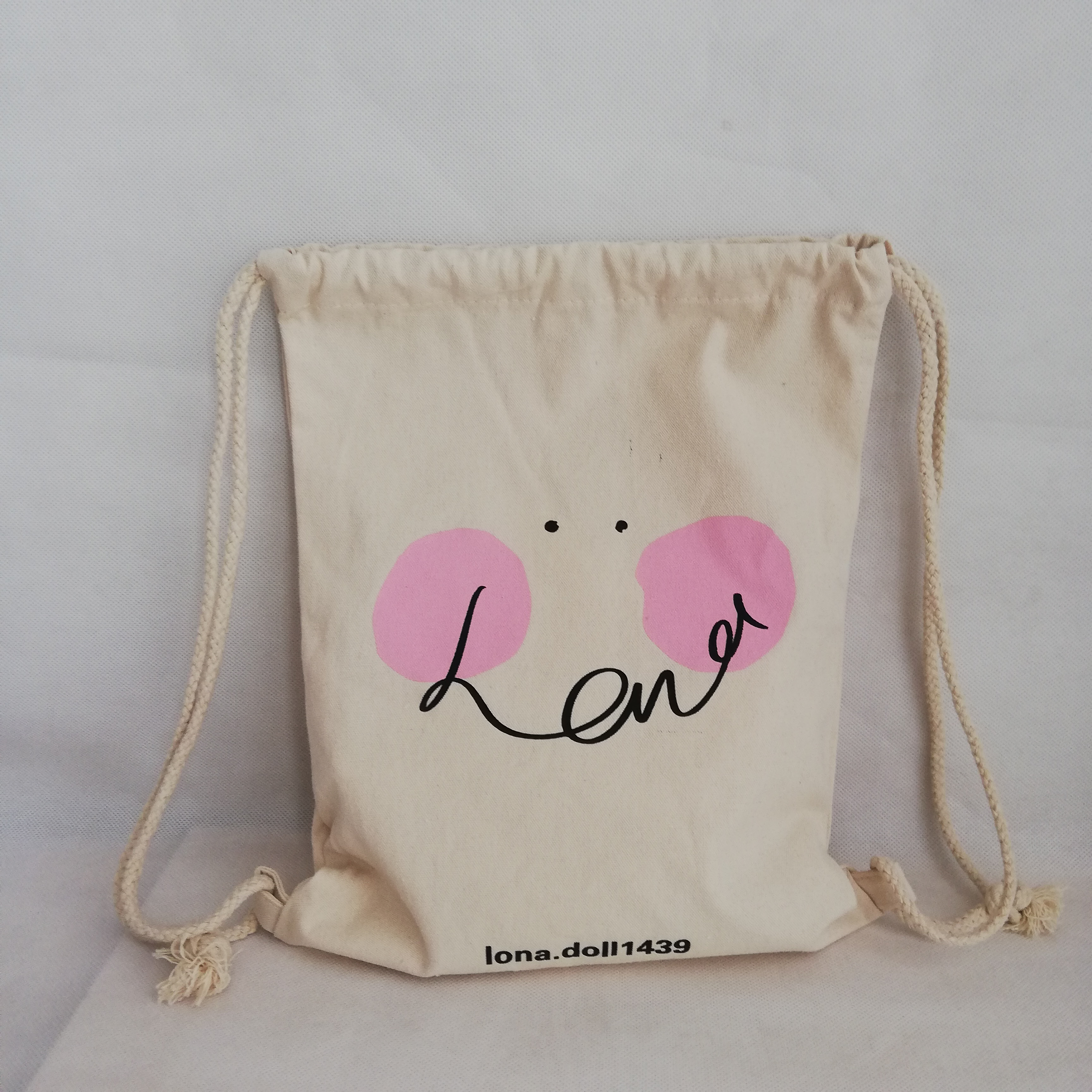 500pcs lot Custom Cotton Drawstring Bags with Your Logo String Backpack For Girls and Children School