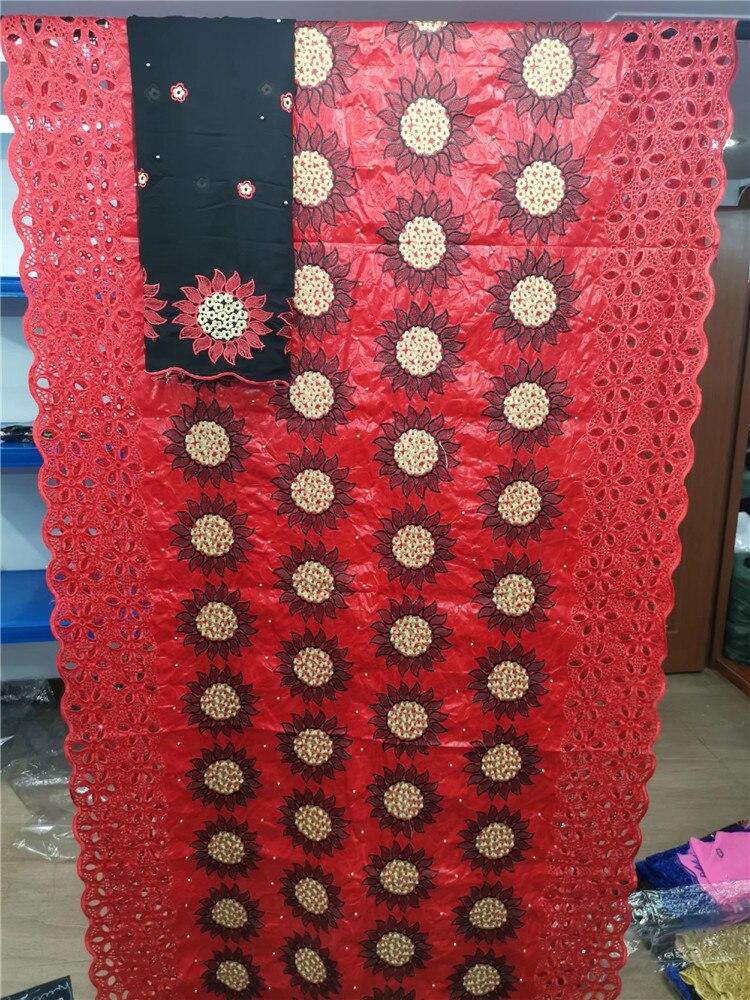 Niesamowite ostatnie afryki Buazin riche koronka z kamieniami tkaniny z szalik dla nigeryjskich suknie wieczorowe 5 + 2yds/szt GZ1828 różowy w Koronka od Dom i ogród na  Grupa 3