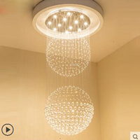 Crystal Chandelier Living Room Light Round Villa Penthouse Double Staircase Light Lobby Loft Restaurant Light Modern