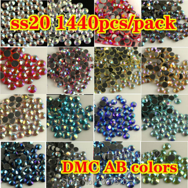 A+DMC 20ss 4.8mm-5.0mm ab color Hotfix Rhinestone Flatback Glass crystal Hot Fix Strass for shoes dress accessaries