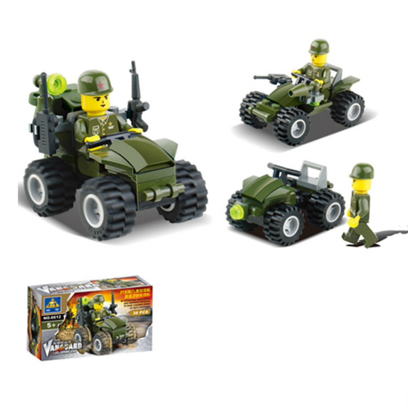 38pcs/set Assault Vehicle Building Blocks Educational Assembled Particles Block Toys Christmas New Year Birthday Gift For Child