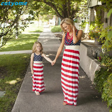 Cutyome 엄마와 딸 드레스 엄마와 나는 옷 민소매 스트라이프 가족 봐 일치하는 Outifits 엄마 키즈 소녀