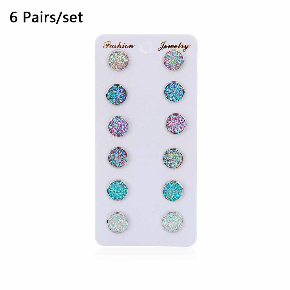 6 par/zestaw okrągły kryształ srebrny Druzy stadniny zestaw kolczyków oko konia bursztyn Bling kolorowe świecący Rhinestone biżuteria stadniny