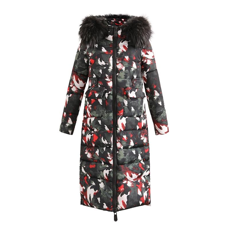 KUYOMENS Winter Womens Parka Long Jacket Cotton Kawaii Hooded Oversize Coat Korean Wide-waisted Straight Camouflage Printed