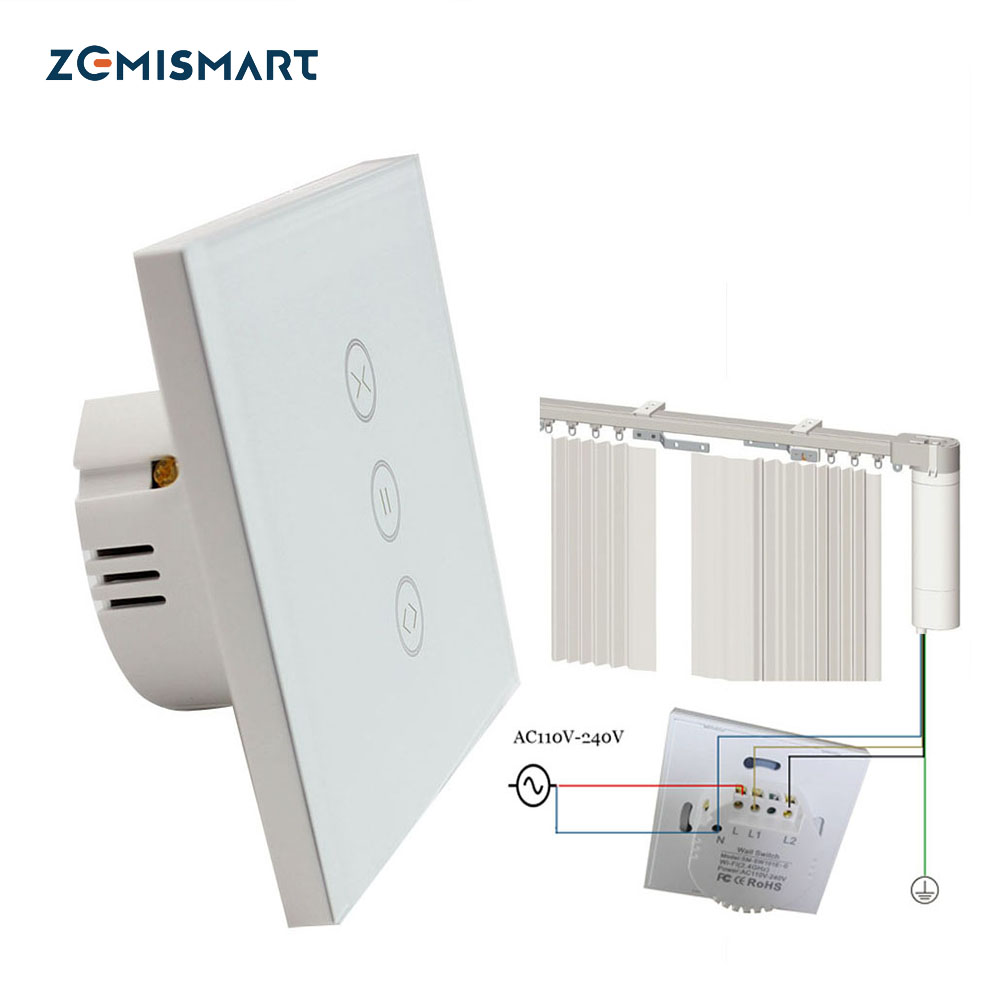EU type Curtain Wall Switch Work with Google Home Alexa Wifi Support APP Control For Shade Curtain Motor with 4 Wires