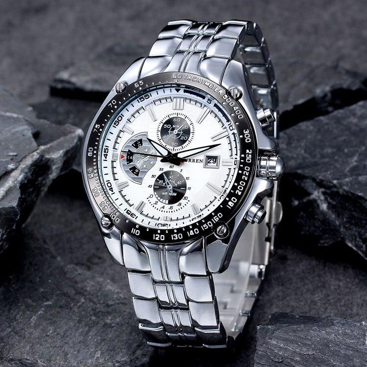 2017 Neue Curren Uhren Männer Luxus Marke Militär Uhr Männer Voller Stahl Armbanduhren Mode Wasserdicht Relogio Masculino