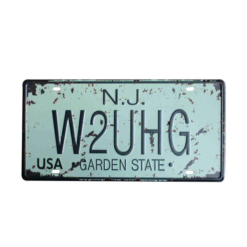 Usa New York 125 Metal Tin Signs Car Number License Retro Home Decor