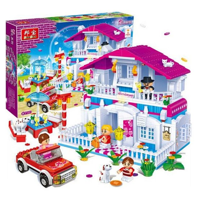 552pcs Happy Restaurant Hotel Compatibie Legoings Building Blocks Toy Kit DIY Educational Children Christmas Birthday Gifts