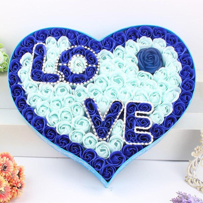 Nouveau 92 pièces savon fleur boîte cadeau amour avec Rose lumière cadeaux de mariage pour les invités faveurs de mariage et cadeaux demoiselle d'honneur cadeau anniversaire