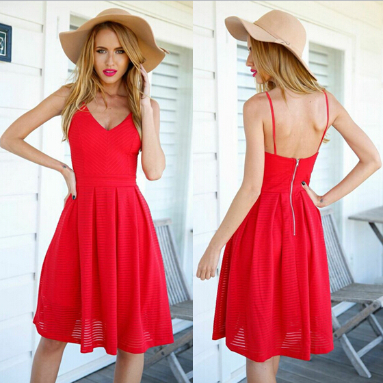Short Red Dresses Casual