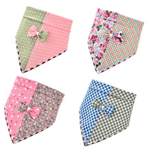 10pcs Cute Pet Dog Cat Bandanas Scarf with Flower Polka Dots Plaid Patterns Accessories Products