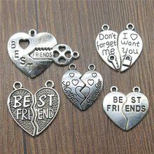 a4719d6378ce 50% (10 piezas o más) encantos de mejores amigos corazón pedazos del  rompecabezas de plata antiguo de piezas de rompecabezas enc.