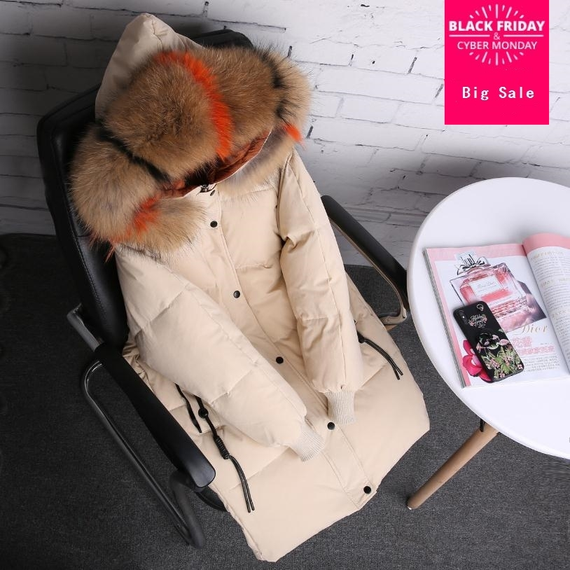 3 colors 90% duck   down     coat   fashion brand   down   jacket female big real raccoon fur collar hooded thicker warm   down     coat   wq46