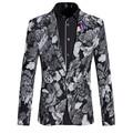 2017 Hombres Floral Blazer Plus Tamaño 5XL 6XL Delgada Para Hombre negro Gris de Lujo Blazers Chaqueta Blazer Masculino Primavera Ropa Hombres A1551