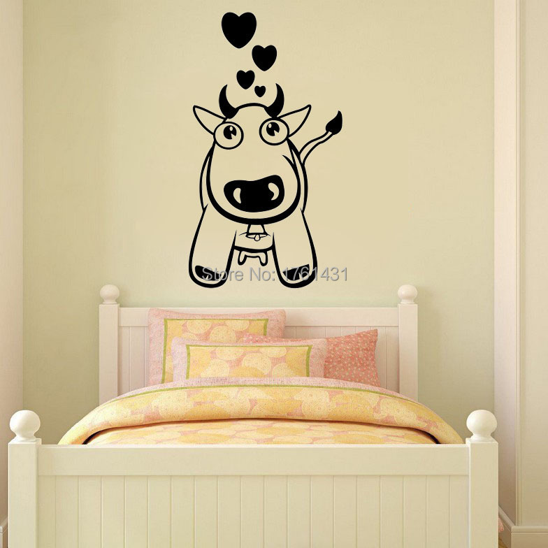 Cow Love wall decals vinyl stickers home decor living room wall ...