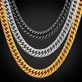 Нержавеющая Сталь мужские Цепочки, Крутой Американский Стиль Хип-Хоп 9 ММ Позолоченный Большой Длинный Коренастый Ожерелье Мужчин Ювелирные Изделия GN2239