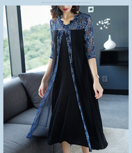 miyak Chiffon high-end dress 2019 new summer womens stitching V-neck large size loose thin  pleated Vestidos