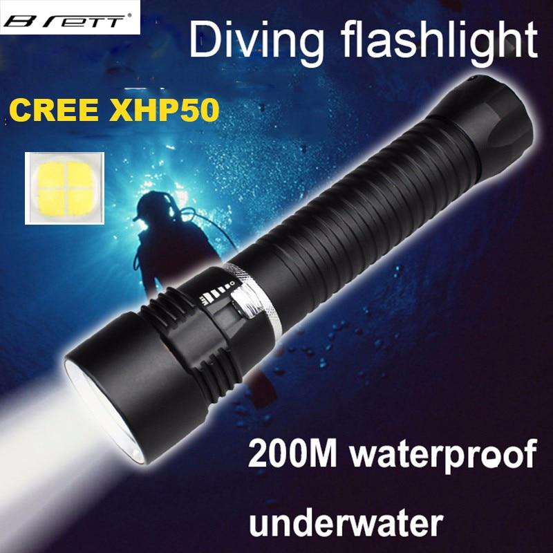 2016 NEW Diving LED Flashlight torch CREE XHP50 high brightness 4000lumens underwater 200M waterproof diving flashlight