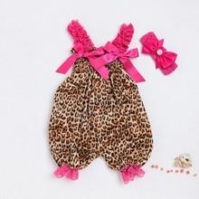 Модный детский комбинезон с принтом леопарда для маленьких мальчиков и девочек, комбинезон+ повязка на голову, комплект одежды