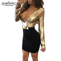 SEBOWEL 2017 Low V Neck Sexy Gold Tunic Sequin Dress Bodycon Mini Long Sleeve Women Sexy
