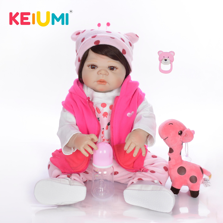 New Style 23 Fashion Reborn Dolls Babies Full Body Silicone Newborn Vinyl Baby Doll With Giraffe