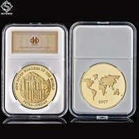 Asia Petra Jordan nuevas siete maravillas del mundo moneda conmemorativa de modelo de juguete regalo de colección moneda W/cápsula titular de pantalla