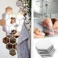 7 Pcs/Set Hexagon Mirror Wall Stickers 3D Acrylic Mirrored Decorative Sticker Waterproof Home Decor Autocollant Mural