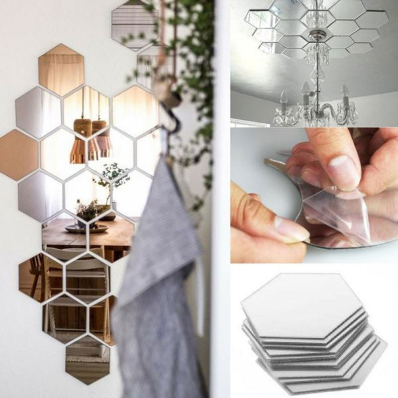 7 teile/satz Hexagon Spiegel Wand Aufkleber 3D Acryl Gespiegelt Dekorative Aufkleber Wasserdichte Wohnkultur Autocollant Wandbild