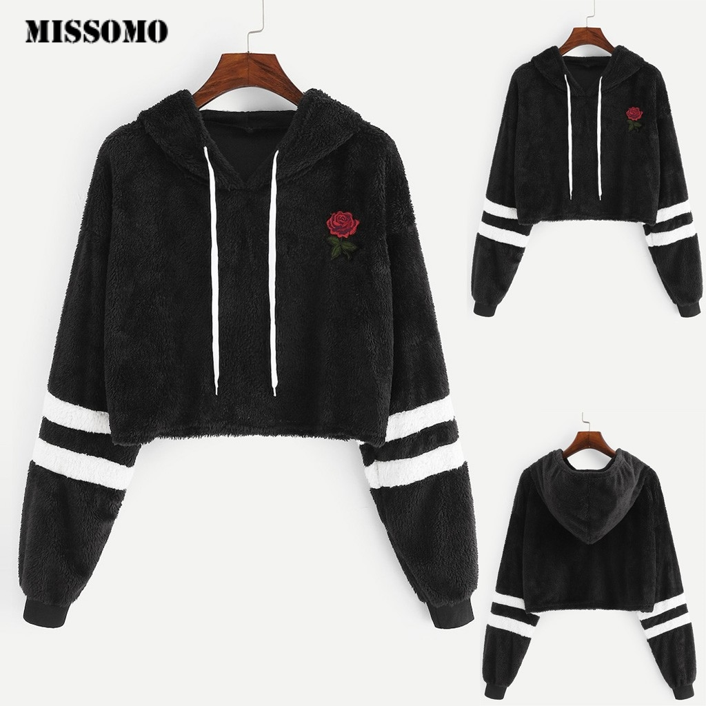 MISSOMO Hoodies Sweatshirts Women Casual Hoodie Sweatshirt Faux Fur long Sleeve Appliques Drawstring Teddy adies Hoodies 73