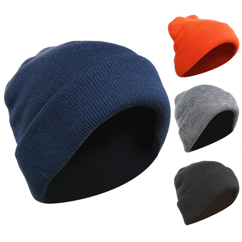 3d8fa50e6 2019 winter hats for men and women can use stretch knit hat fashion warm  solid color thick hat men casual loose ski gift