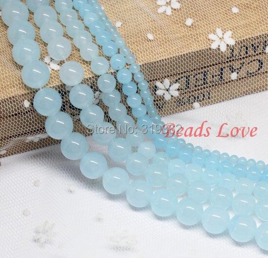 4,6,8,10,12mm Aquamarines Jades Round Loose Stone Beads AAA+ 15.5/strand Pick Size Free Shipping(F00028)