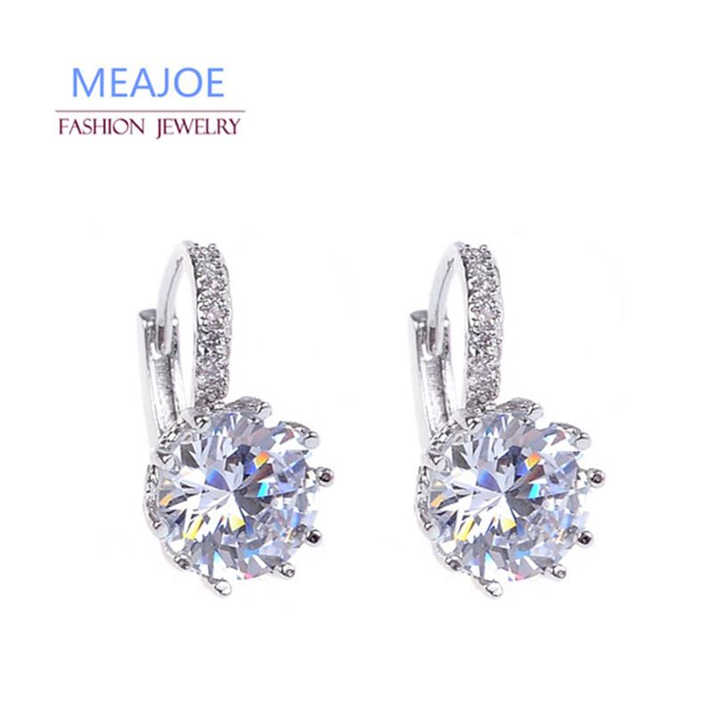 Meajoe Trendy Silver Plated 6 Color Charm Stud Earring Round Cubic Zircon Metal Vintage Earrings Jewelry For Women Friend Gift(China)