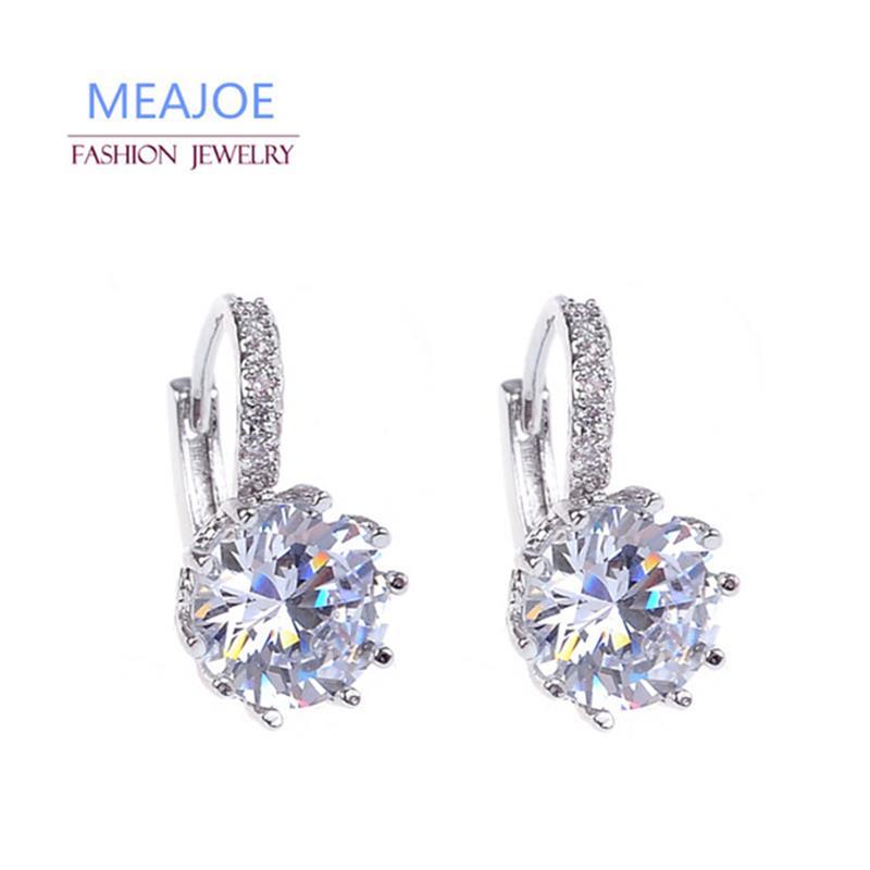 Meajoe Trendy Silver Plate 6 Color Charm Stud Earring Round Cubic Zircon Metal Vintage Earrings Jewelry for Women Friend Gift