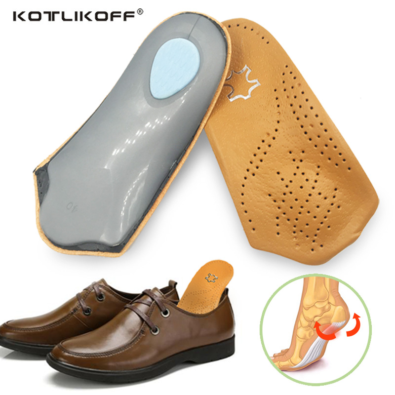 KOTLIKOFF 3/4 längd Läder innersula Flat Foot Orthotic Inläggssula Arch Support 2.5cm Half Shoe Pad Ortopediska Insoles Foot Care